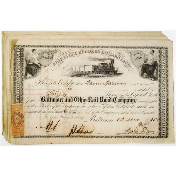 Baltimore & Ohio Rail Road Co. Issued Stock Certificate Group of 16, 1851