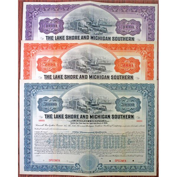 Lake Shore and Michigan Southern Railway Co. 1906 Specimen Bond Trio