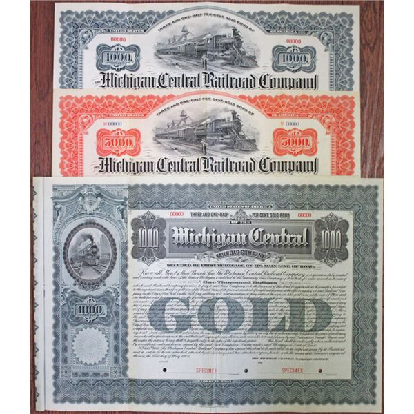 Michigan Central Railroad Co., 1902 Specimen Bond Trio
