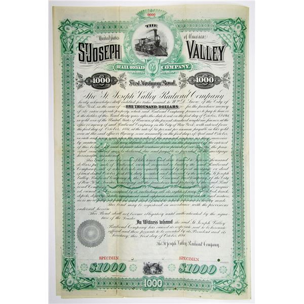St. Joseph Valley Railroad Co. 1884 Specimen Bond Rarity