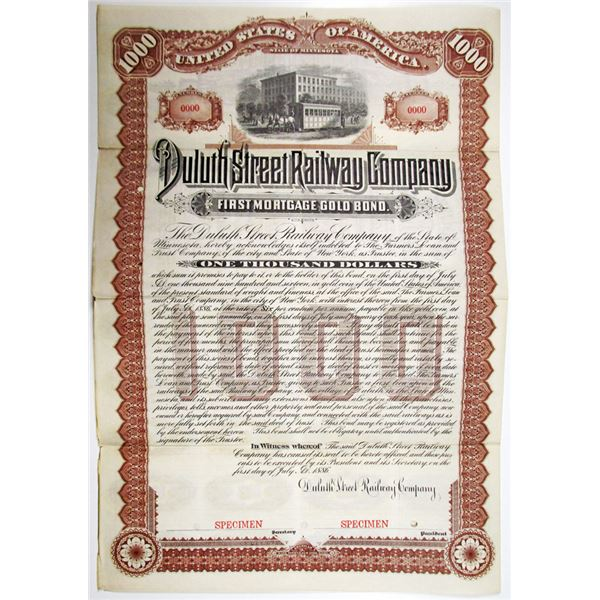 Duluth Street Railway Co. 1886 Specimen Bond Rarity