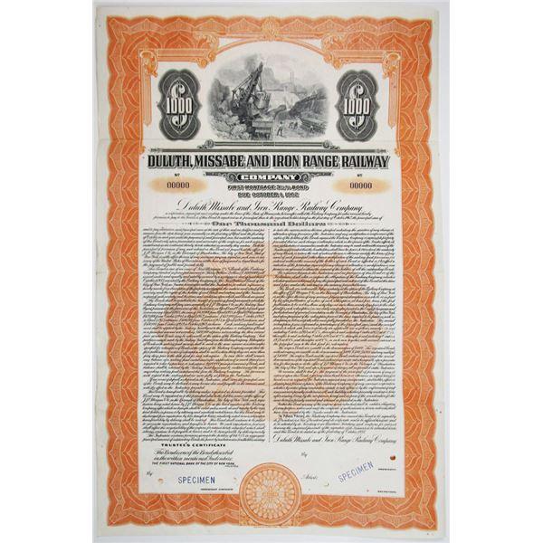 Duluth, Missabe and Iron Range Railway Co. 1937 Unlisted Specimen Bond