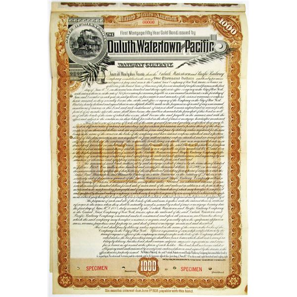 Duluth, Watertown and Pacific Railway Co. 1888 Specimen Bond