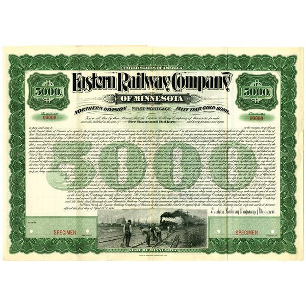 Eastern Railway Co. of Minnesota, 1909 Specimen Bond