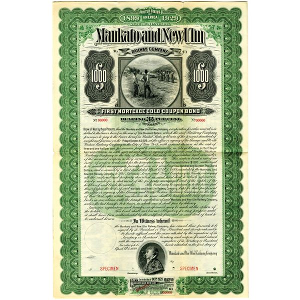 Mankato and New Ulm Railway Co. 1899 Specimen Bond Rarity
