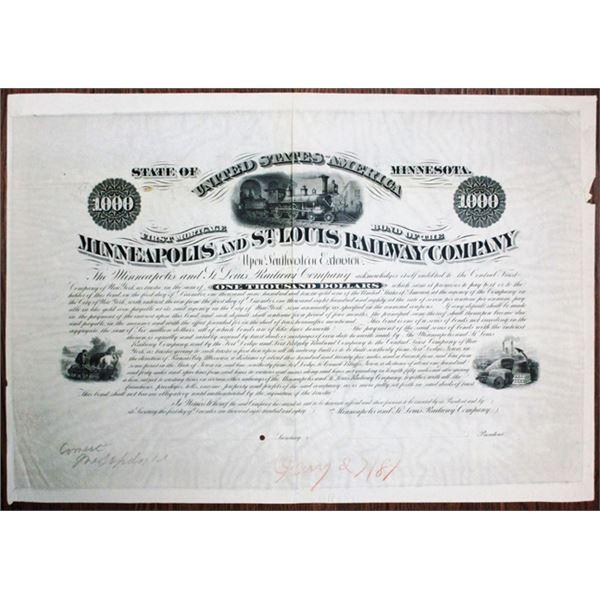 Minneapolis & St. Louis Railway Co. 1881 Unique Approval Progress Proof Bond