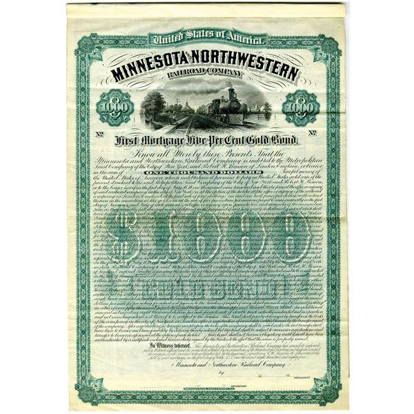 Minnesota and Northwestern Railroad Co. 1884 Specimen Bond