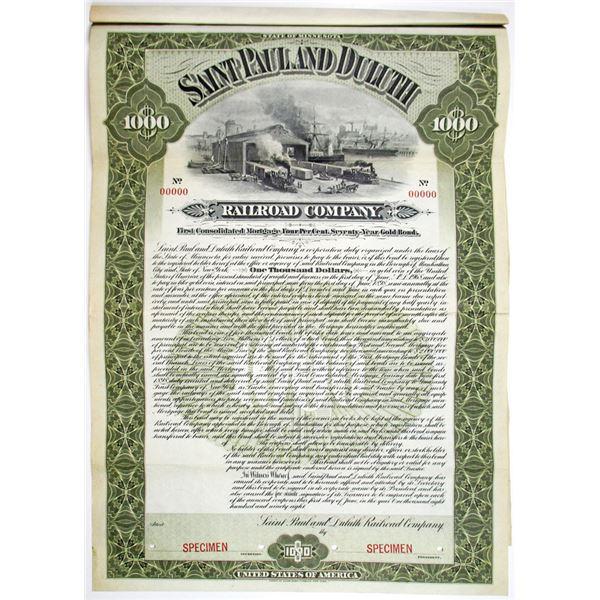 Saint Paul and Duluth Railroad Co. 1898 Specimen Bond Rarity