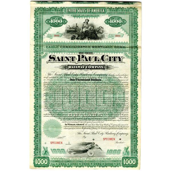 Saint Paul City Railway Co. 1887 Specimen Bond Rarity