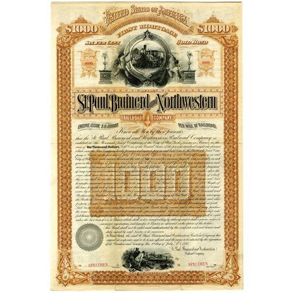 St. Paul, Brainerd and Northwestern Railroad Co. 1885 Specimen Bond Rarity