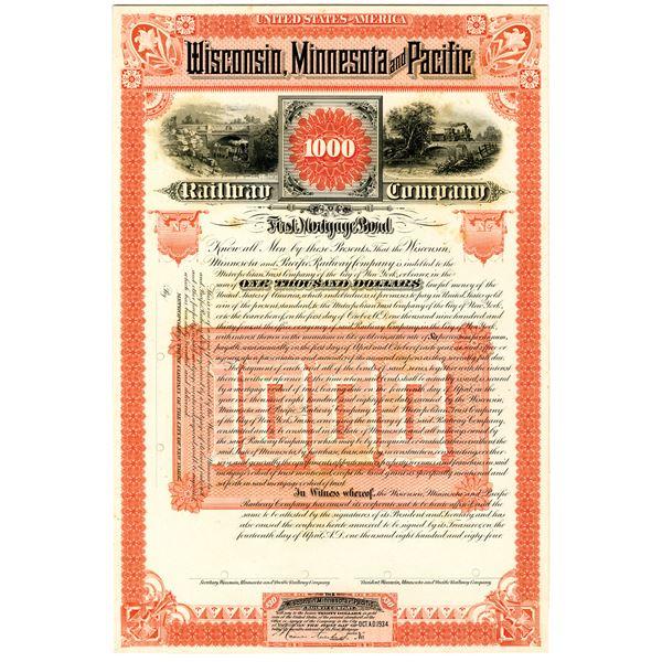 Wisconsin, Minnesota and Pacific Railway Co. 1884 Proof Bond
