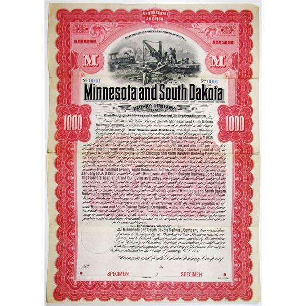 Minnesota and South Dakota Railway Co. 1900 Specimen Bond Rarity