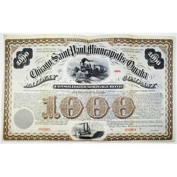 Chicago, Saint Paul, Minneapolis and Omaha Railway Co. 1880 Specimen Bond