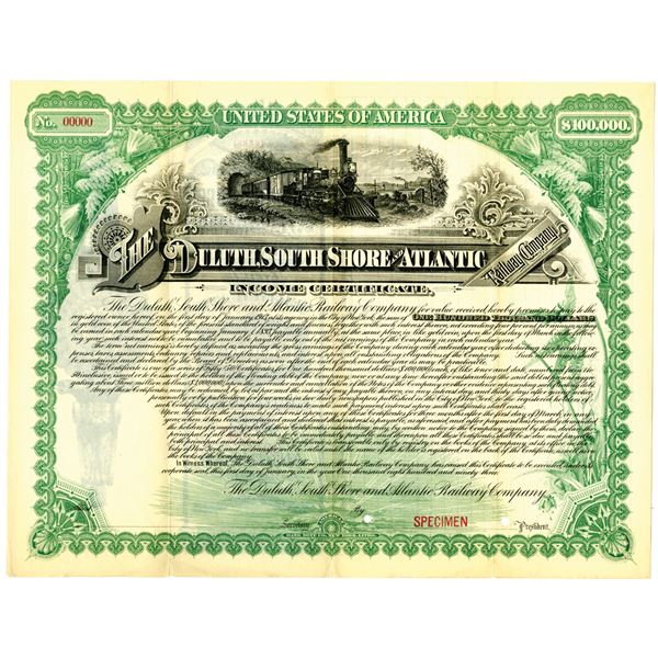 Duluth, South Shore and Atlantic Railway Co. 1893 Specimen Bond Rarity