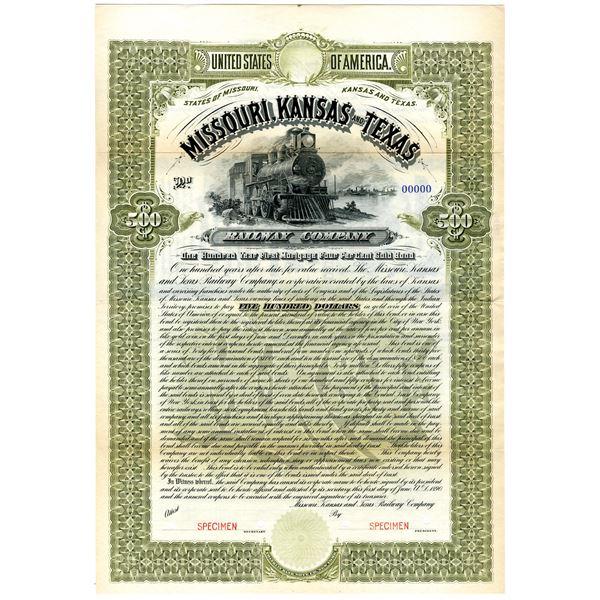 Missouri, Kansas and Texas Railway Co. 1890 Specimen Bond