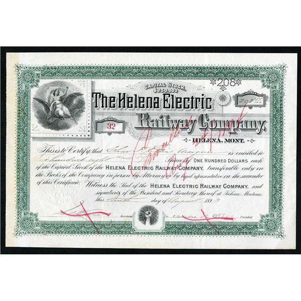 Helena Electric Railway Co. 1893 I/C Stock Certificate