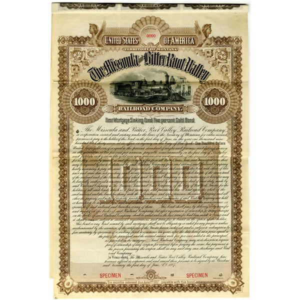 Missoula and Bitter Root Valley Railroad Co., 1887 Specimen Bond Rarity