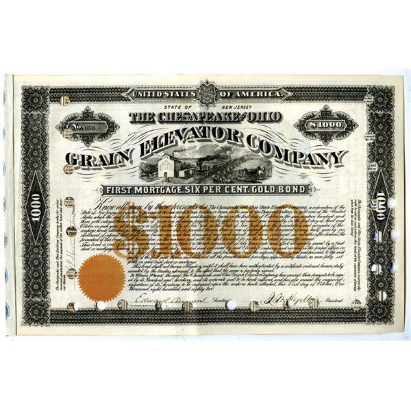 Chesapeake and Ohio Grain Elevator Co., 1882 I/C Bond Signed by Collis P. Huntington.