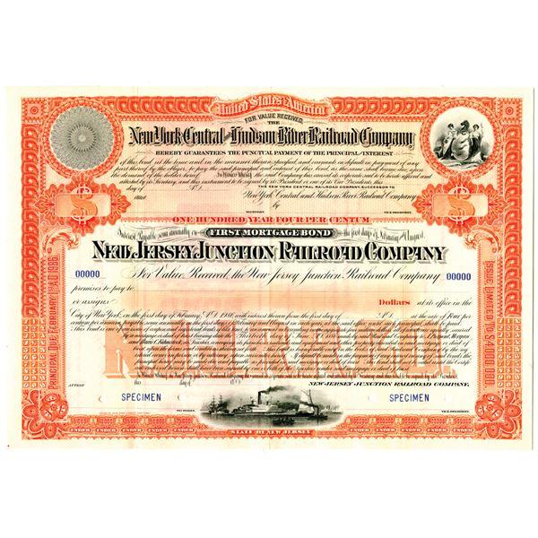 New Jersey Junction Railroad Co. 1886 Specimen Bond