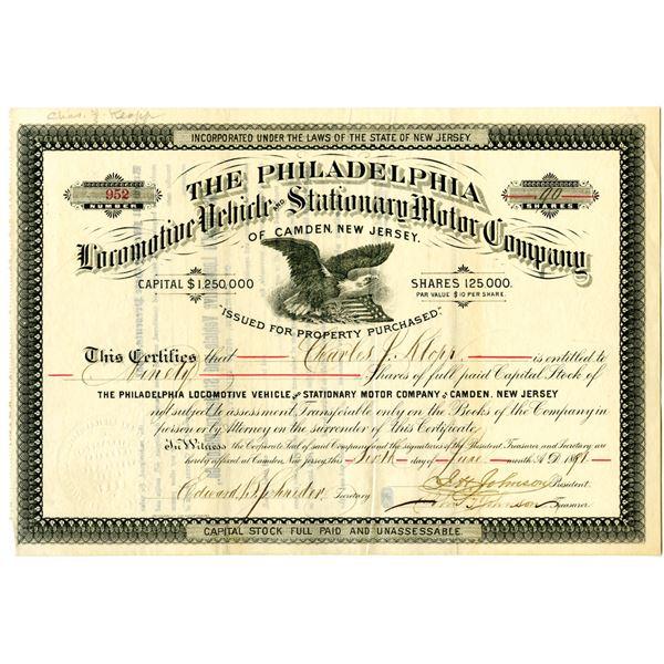 Philadelphia Locomotive Vehicle and Stationary Motor Co. of Camden, New Jersey 1891 Stock Certificat