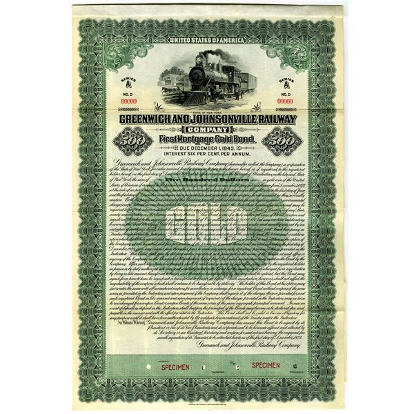 Greenwich and Johnsonville Railway Co. 1923 Specimen Bond Rarity
