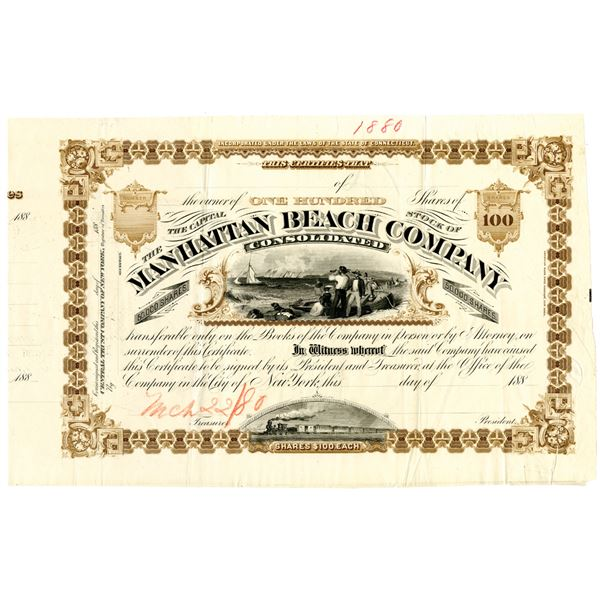 Manhattan Beach Co. Consolidated 1880 Approval Proof Stock Certificate
