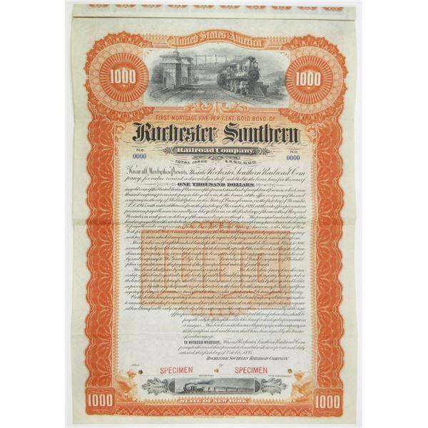 Rochester Southern Railroad Co. 1895 Specimen Bond Rarity