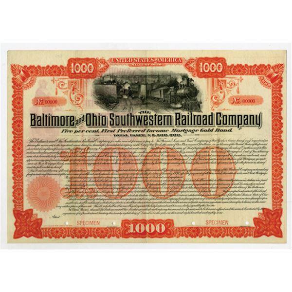 Baltimore and Ohio Southwestern Railroad Co. 1889 Specimen Bond.