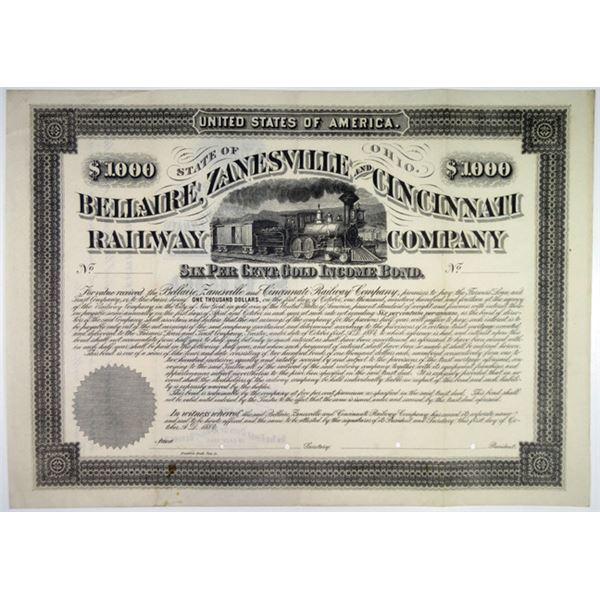 Bellaire, Zanesville & Cincinnati Railway Co. 1884 Specimen Bond Rarity