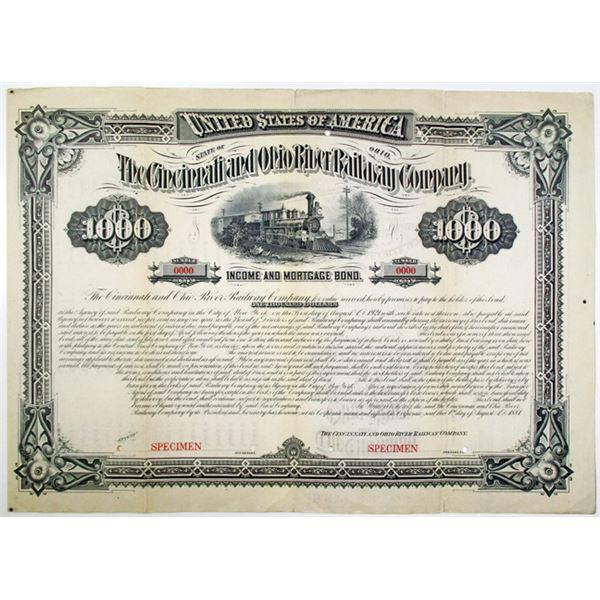 Cincinnati and Ohio River Railway Co. 1881 Specimen Bond Rarity