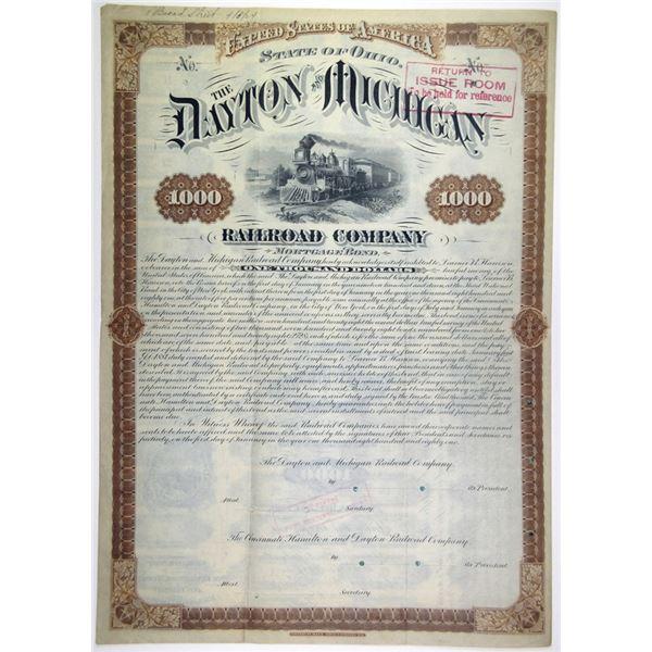 Dayton & Michigan Railroad Co. 1881 Unique Specimen Bond
