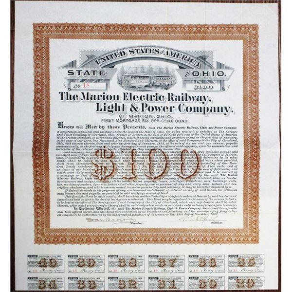 Marion Electric Railway, Light and Power Co. 1892 I/U Bond