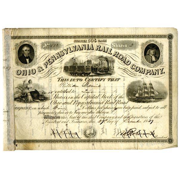 Ohio & Pennsylvania Rail Road Co. 1849 I/C Stock Certificate