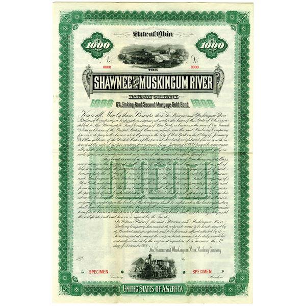 Shawnee and Muskingum River Railway Co. 1888 Specimen Bond Rarity