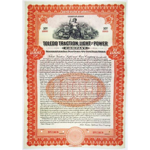 Toledo Traction, Light and Power Co. 1913 Specimen Bond Rarity