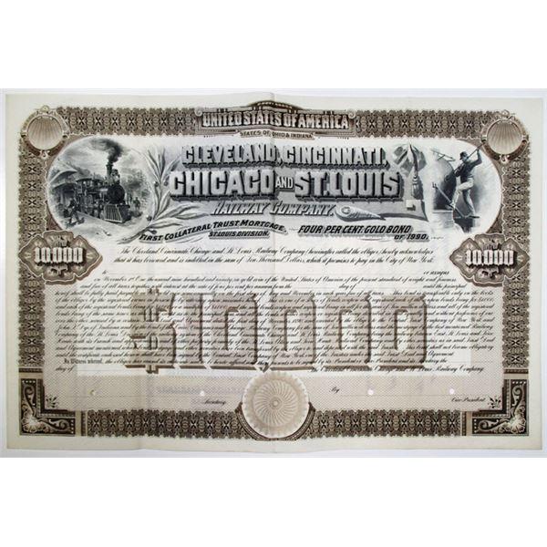 Cleveland, Cincinnati, Chicago and St. Louis Railway Co. 1890 Specimen Bond