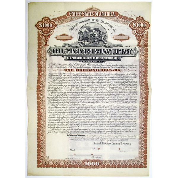 Ohio and Mississippi Railway Co. 1891 Specimen Bond Rarity