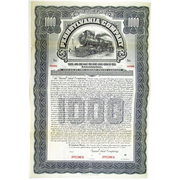 Pennsylvania Co. 1901 Specimen Bond Rarity