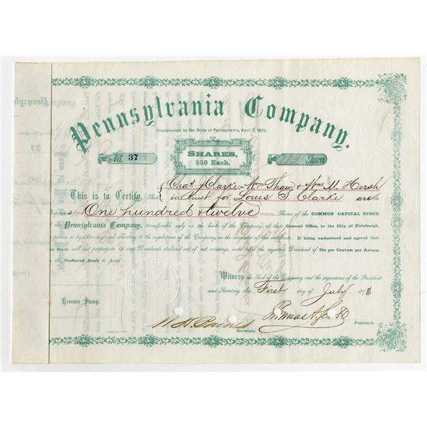 Pennsylvania Co., 1873 Stock Certificate Signed by Thomas A. Scott as President.