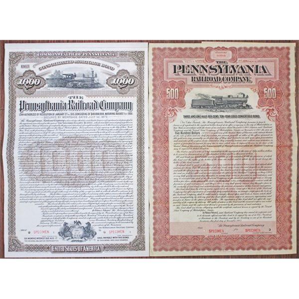 Pennsylvania Railroad Co. 1902-15 Specimen Bond Pair