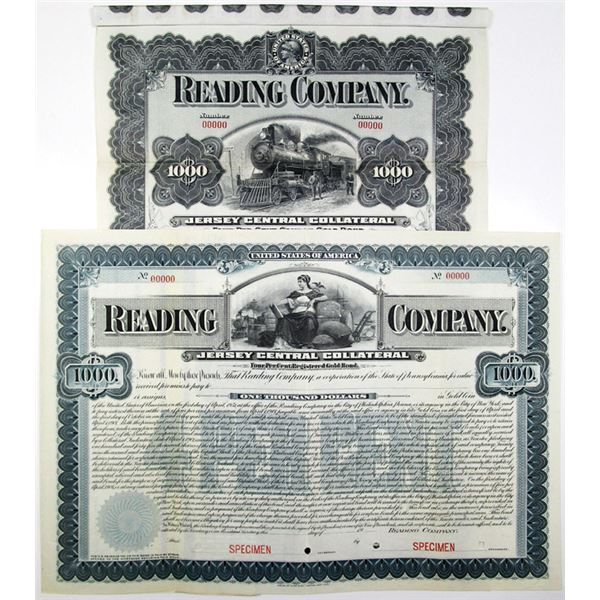 Reading Co., Jersey Central Collateral, Specimen Bond Pair, 1901-08