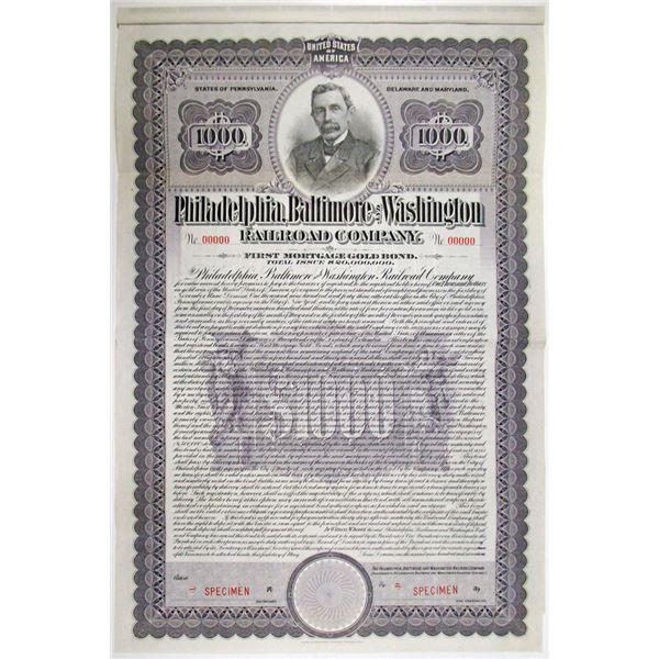 Philadelphia, Baltimore and Washington Railroad Co. 1917 Specimen Bond Rarity