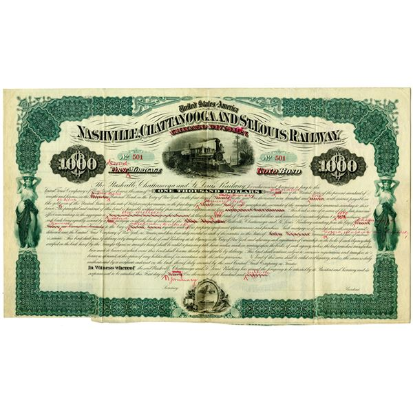 Nashville, Chattanooga and St. Louis Railway 1881 Unique Design Mock-Up Bond
