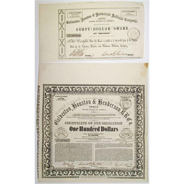 Galveston, Houston & Henderson Railroad Co., 1857 I/U Bond & Fractional Stock Certificate Pair