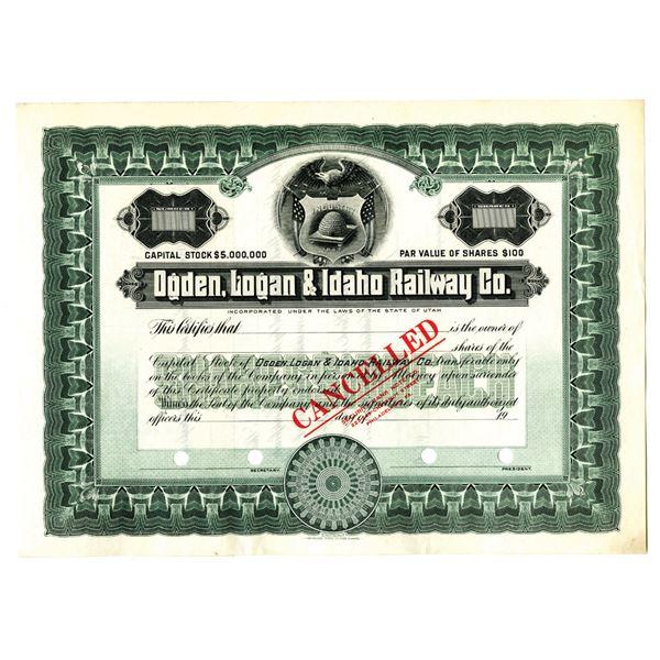 Ogden, Logan & Idaho Railway Co., 1900-1920 Stock Certificate