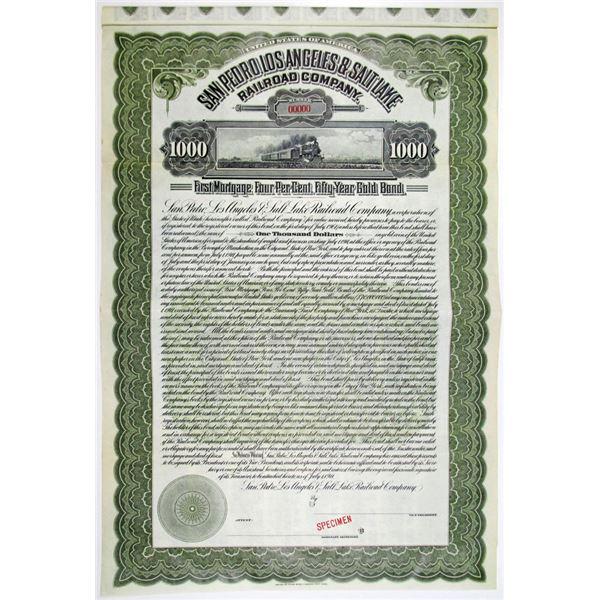 San Pedro, Los Angeles & Salt Lake Railroad Co. 1911 Specimen Bond