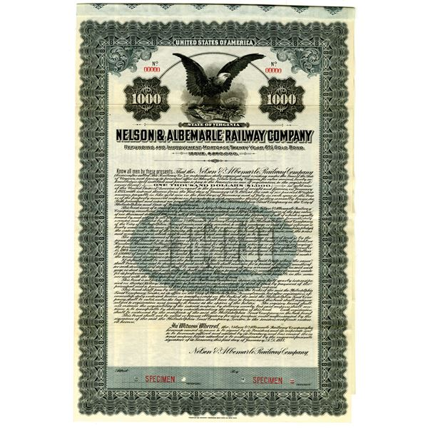 Nelson & Albemarle Railway Co. 1918 Specimen Bond