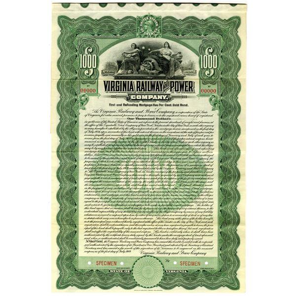 Virginia Railway and Power Co. 1909 Specimen Bond Rarity