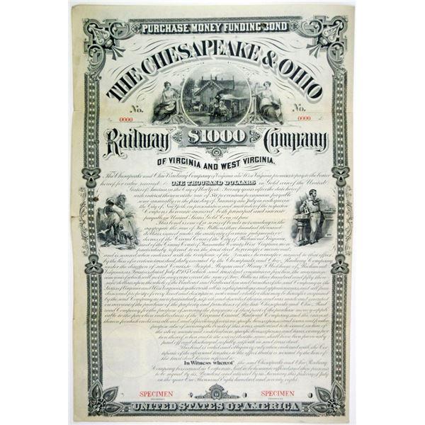 Chesapeake & Ohio Railway Co. 1878 Specimen Bond Rarity.