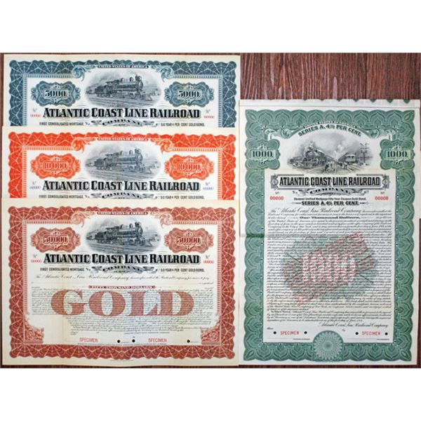 Atlantic Coast Line Railroad Co., 1902 and 1914 Specimen Bond Quartet